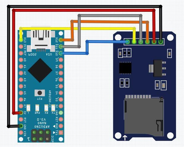 Rangkaian Arduino Nano dan Modul SD CARD