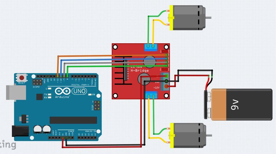 Rangkaian Arduino dan Driver L298N Motor DC